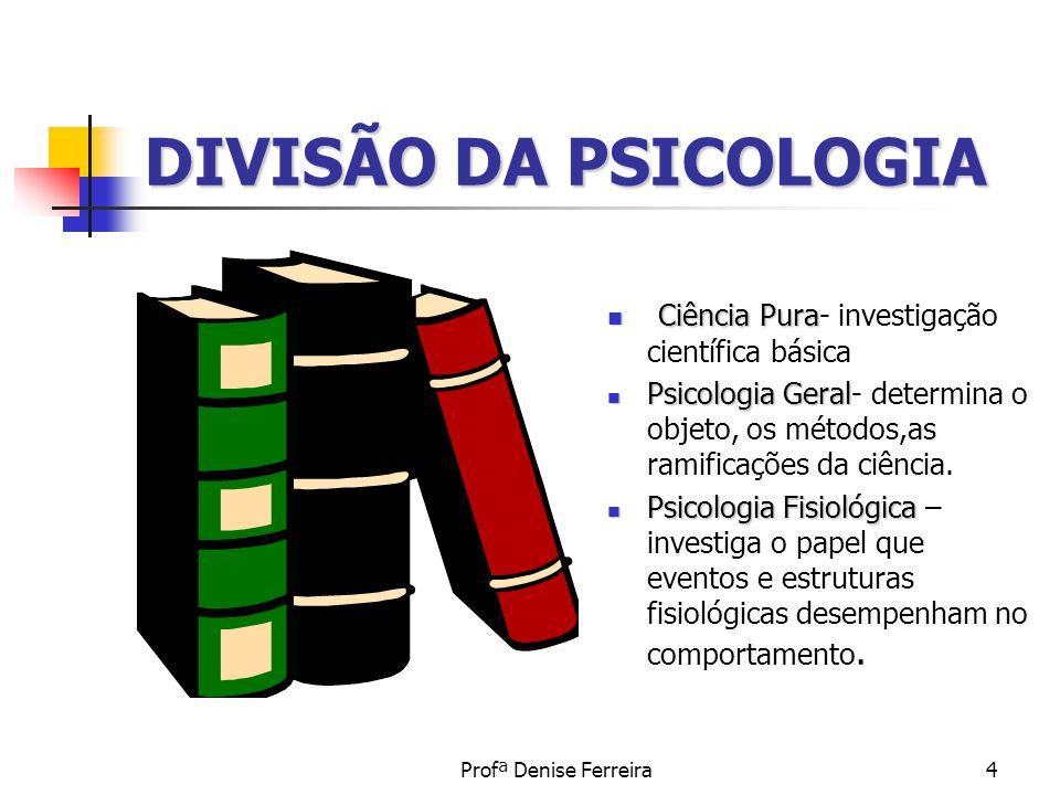 DIVISÃO DA PSICOLOGIA Ciência Pura- investigação científica básica