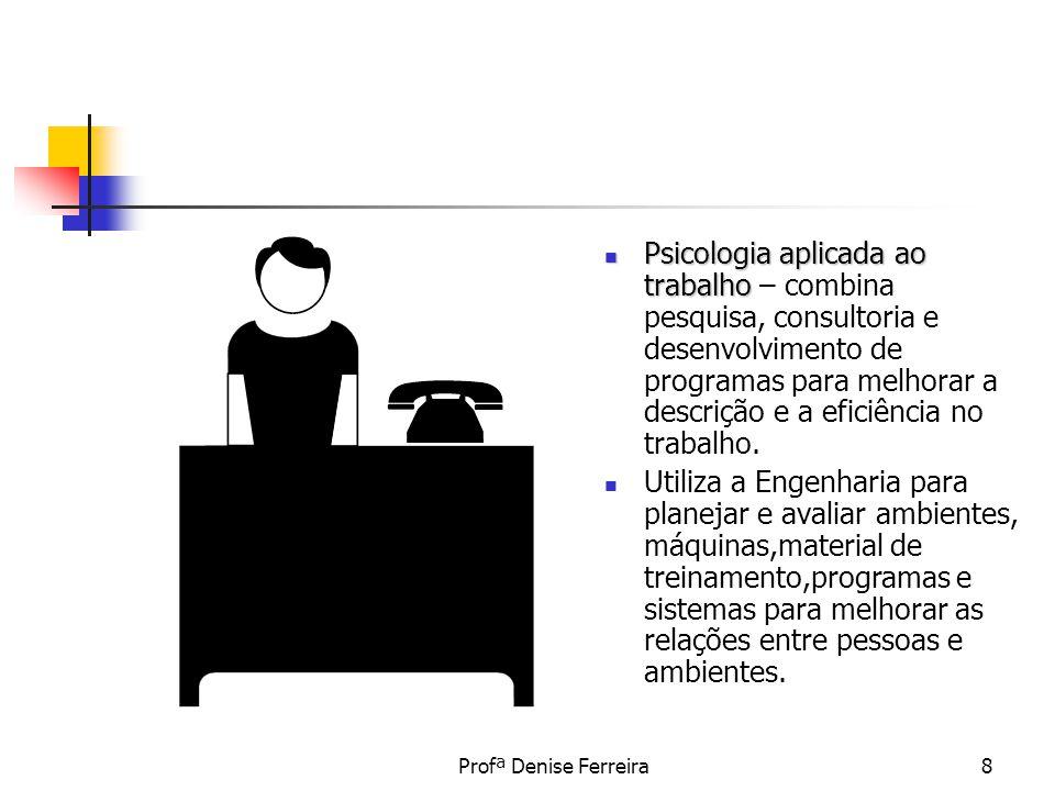 Psicologia aplicada ao trabalho – combina pesquisa, consultoria e desenvolvimento de programas para melhorar a descrição e a eficiência no trabalho.