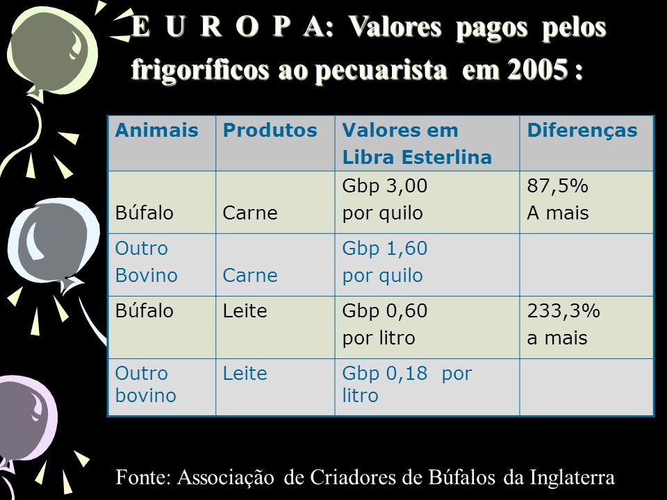 E U R O P A: Valores pagos pelos frigoríficos ao pecuarista em 2005 :