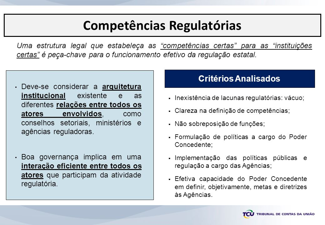 Competências Regulatórias