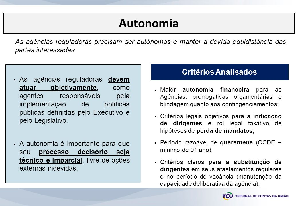 Autonomia Critérios Analisados