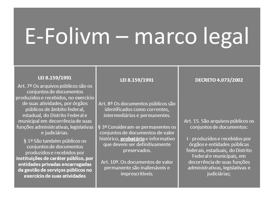 E-Folivm – marco legal LEI 8.159/1991