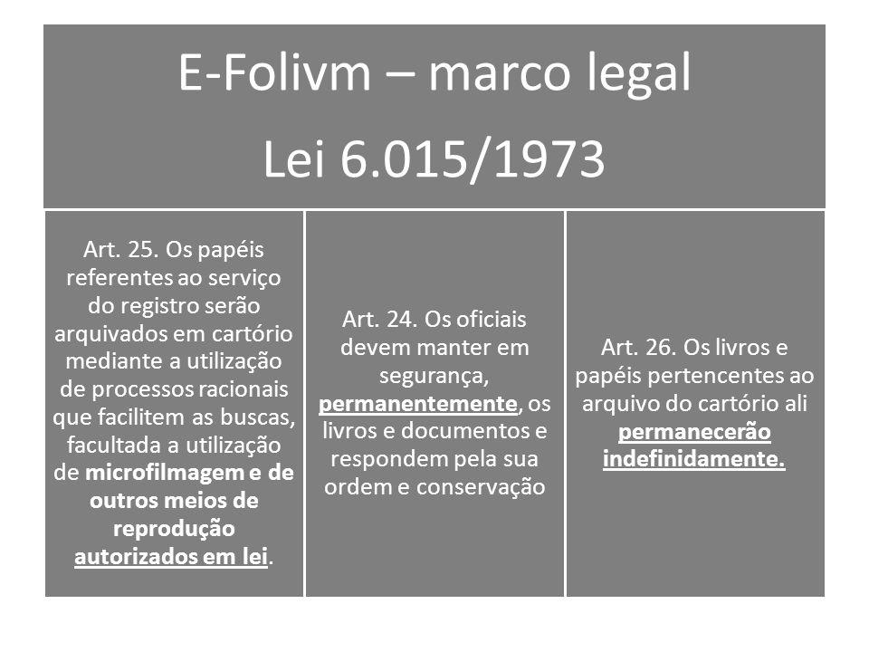 E-Folivm – marco legal Lei 6.015/1973