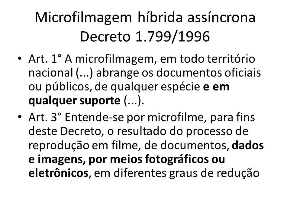 Microfilmagem híbrida assíncrona Decreto 1.799/1996