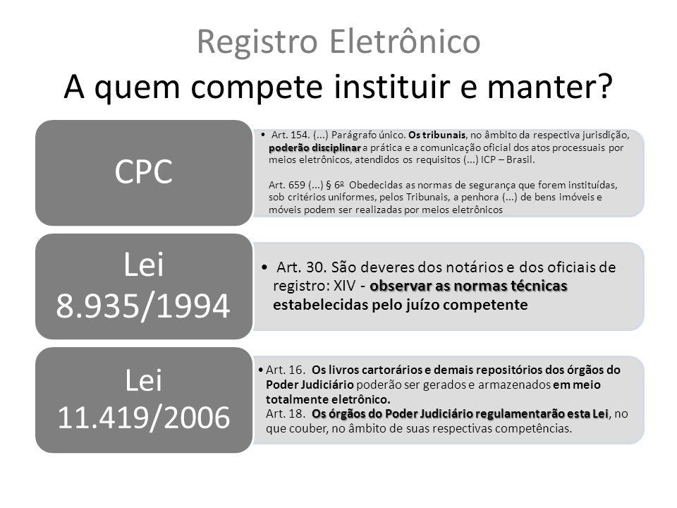 Registro Eletrônico A quem compete instituir e manter