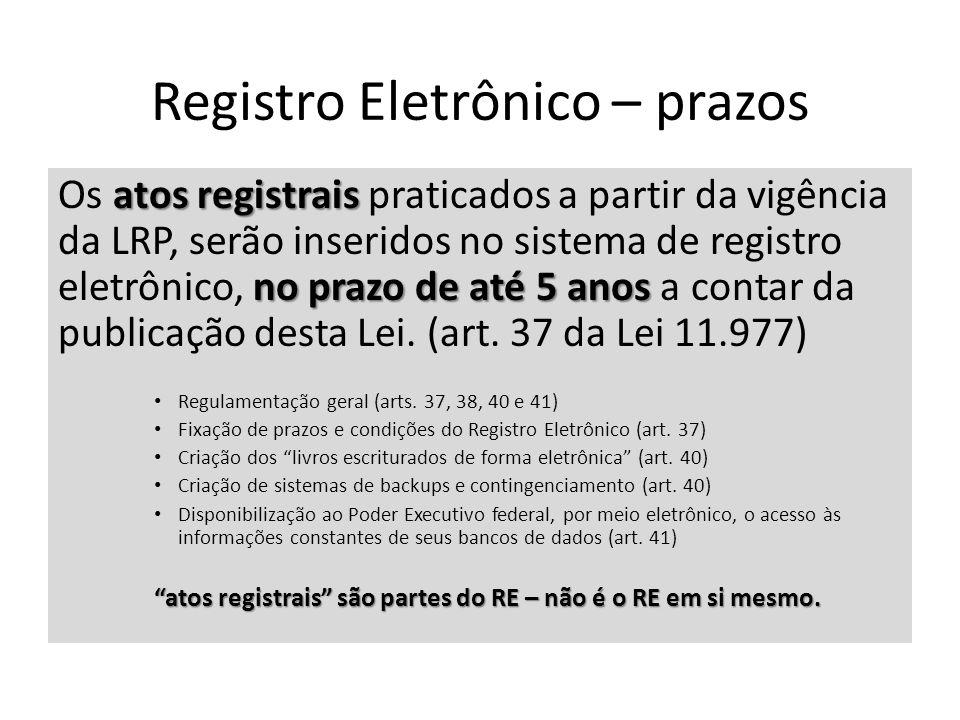 Registro Eletrônico – prazos