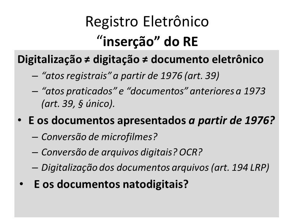 Registro Eletrônico inserção do RE