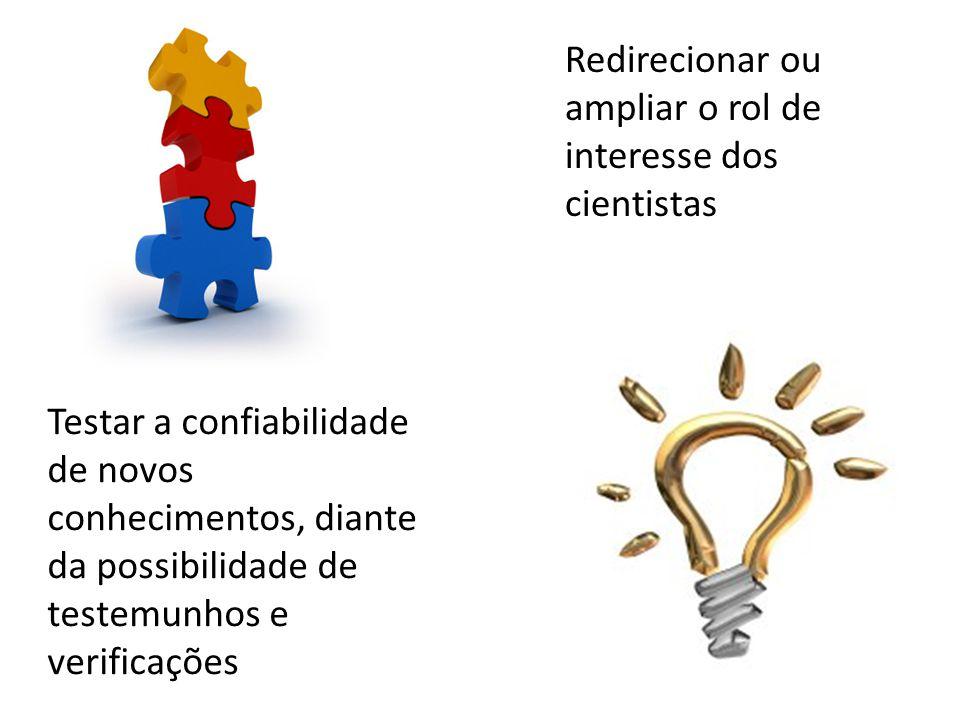 Redirecionar ou ampliar o rol de interesse dos cientistas