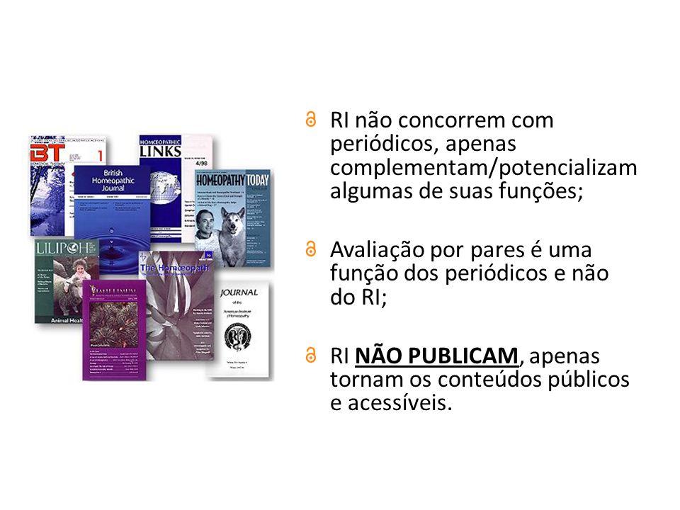 RI não concorrem com periódicos, apenas complementam/potencializam algumas de suas funções;