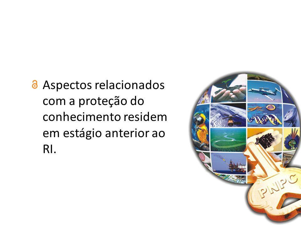 Aspectos relacionados com a proteção do conhecimento residem em estágio anterior ao RI.