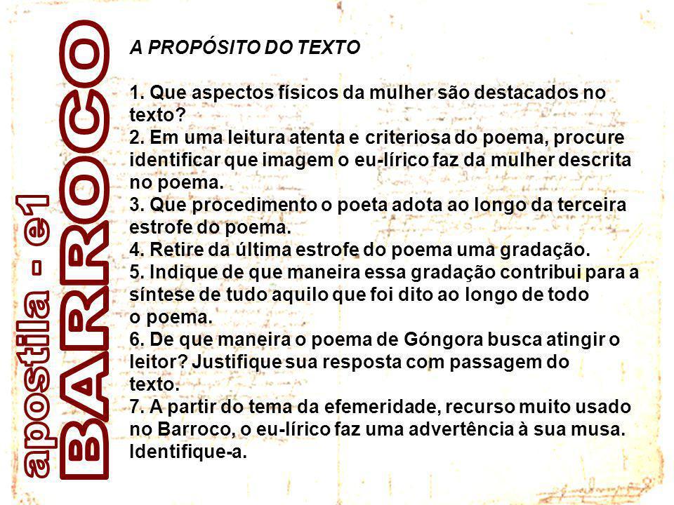 BARROCO apostila - e1 A PROPÓSITO DO TEXTO