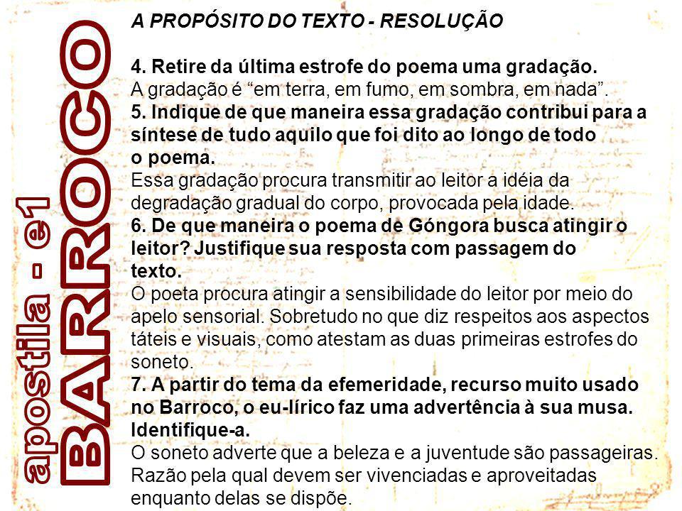 BARROCO apostila - e1 A PROPÓSITO DO TEXTO - RESOLUÇÃO