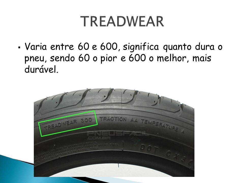 TREADWEAR Varia entre 60 e 600, significa quanto dura o pneu, sendo 60 o pior e 600 o melhor, mais durável.