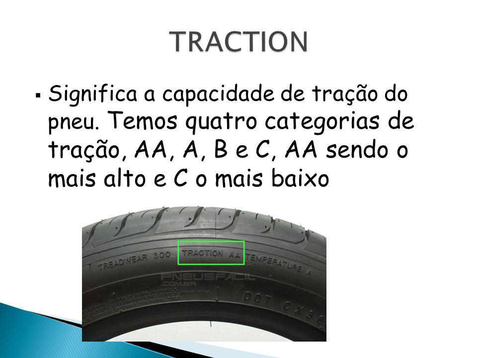TRACTION Significa a capacidade de tração do pneu.