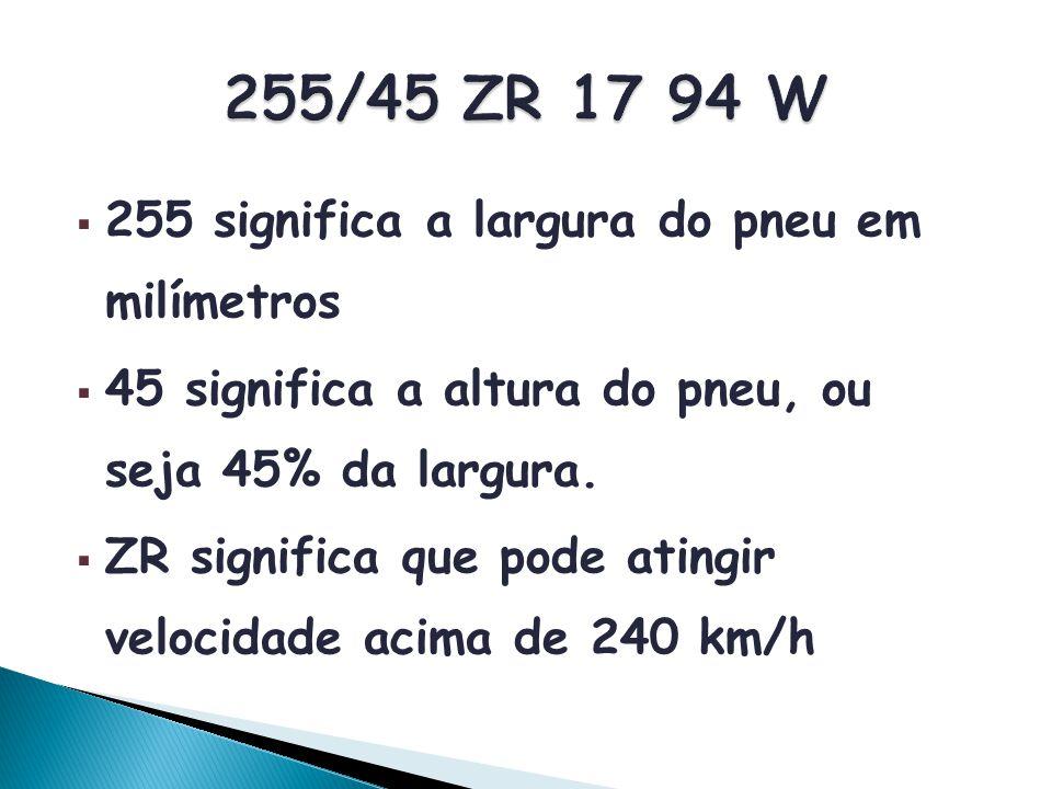255/45 ZR 17 94 W 255 significa a largura do pneu em milímetros
