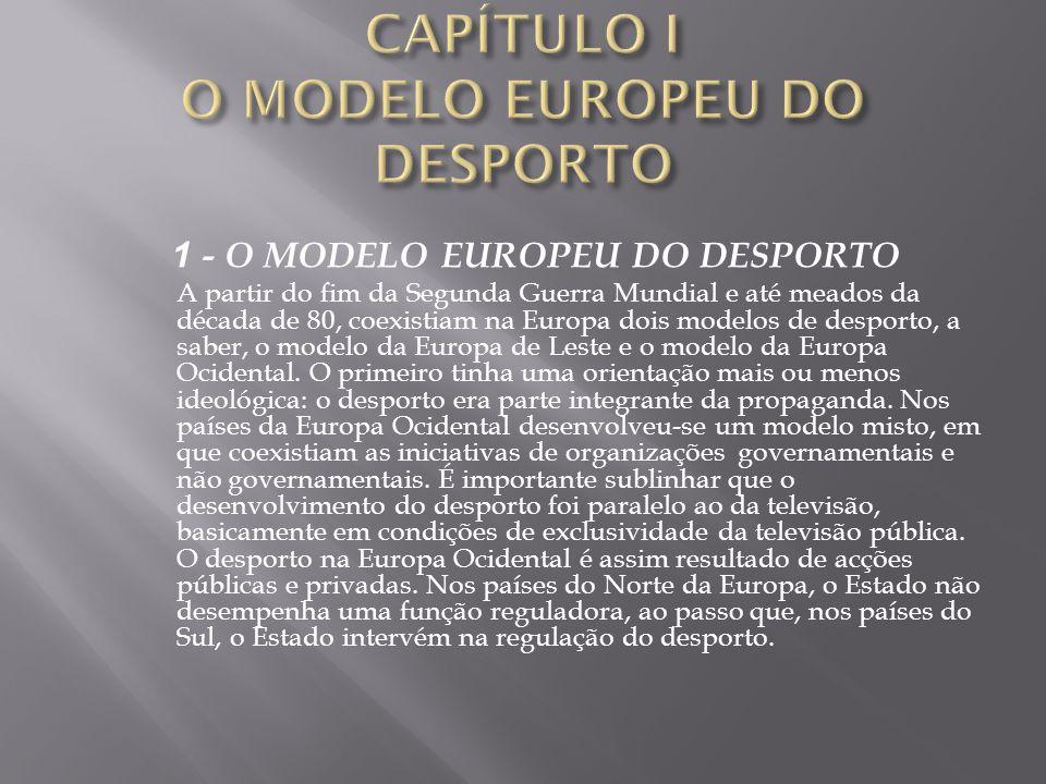 CAPÍTULO I O MODELO EUROPEU DO DESPORTO