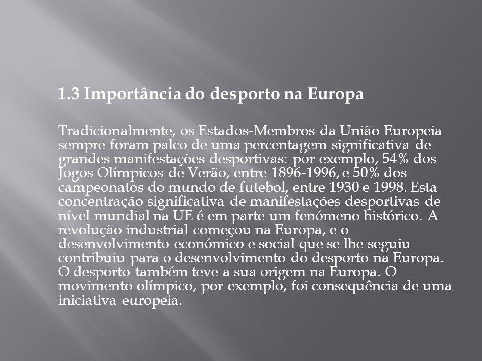 1.3 Importância do desporto na Europa