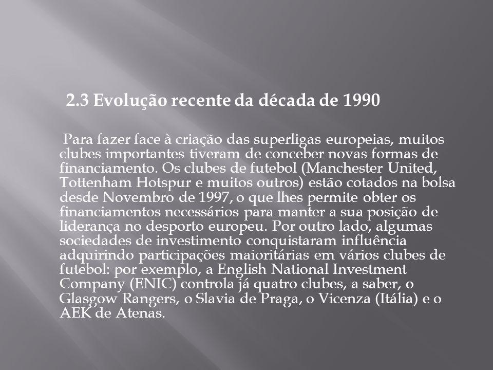 2.3 Evolução recente da década de 1990