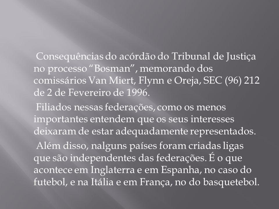 Consequências do acórdão do Tribunal de Justiça no processo Bosman , memorando dos comissários Van Miert, Flynn e Oreja, SEC (96) 212 de 2 de Fevereiro de 1996.