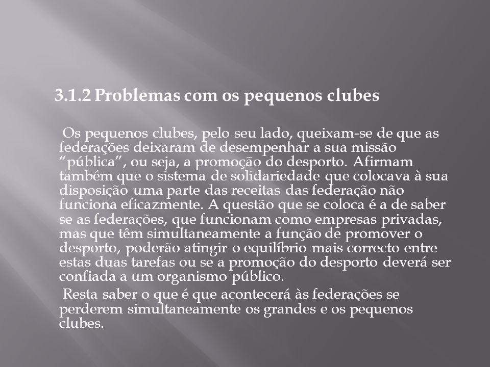 3.1.2 Problemas com os pequenos clubes