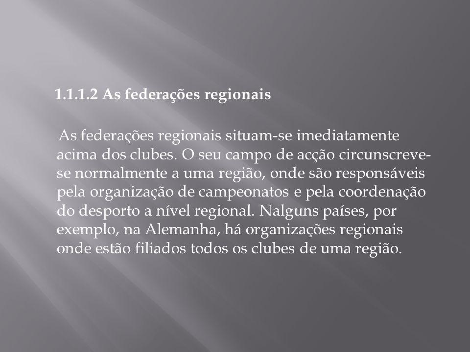 1.1.1.2 As federações regionais