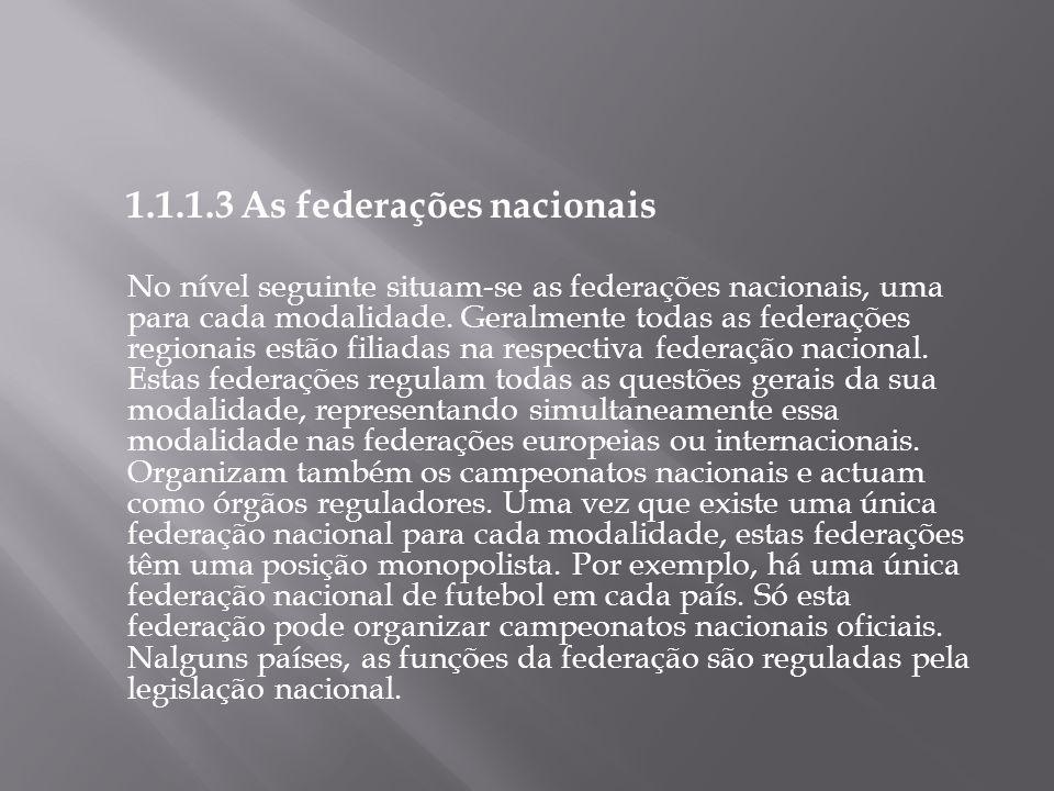1.1.1.3 As federações nacionais