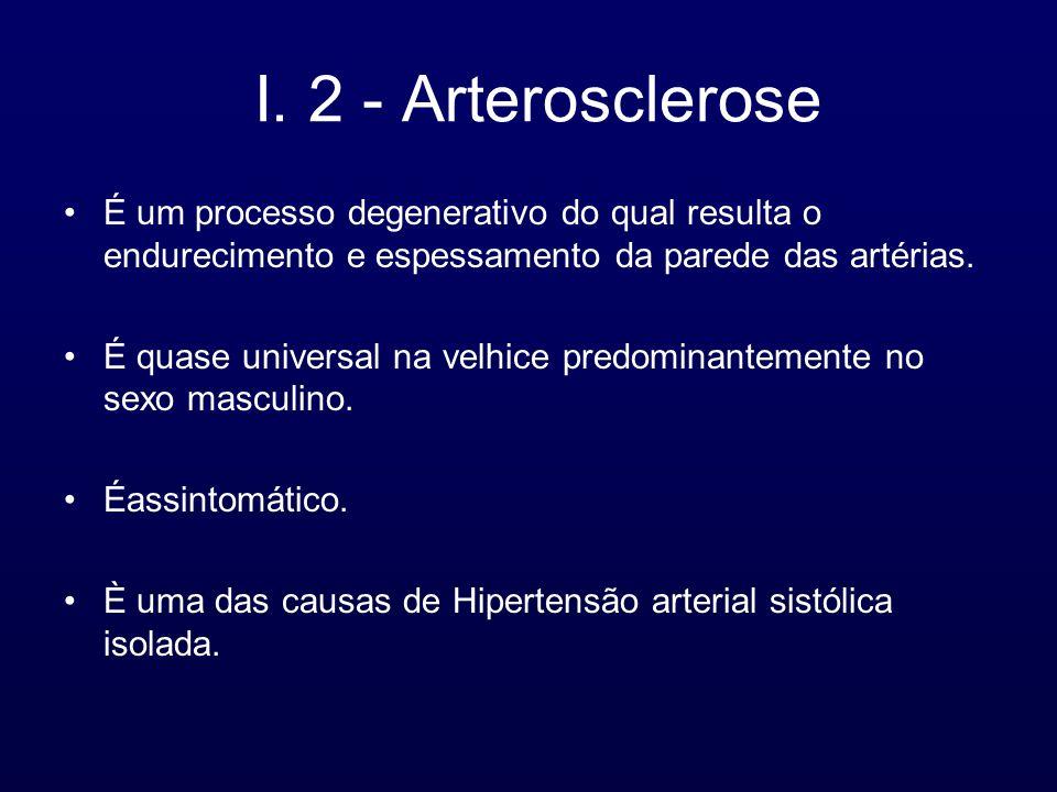 I. 2 - Arterosclerose É um processo degenerativo do qual resulta o endurecimento e espessamento da parede das artérias.