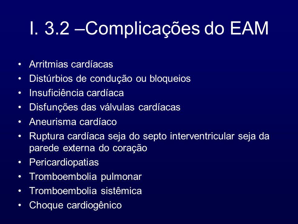 I. 3.2 –Complicações do EAM Arritmias cardíacas
