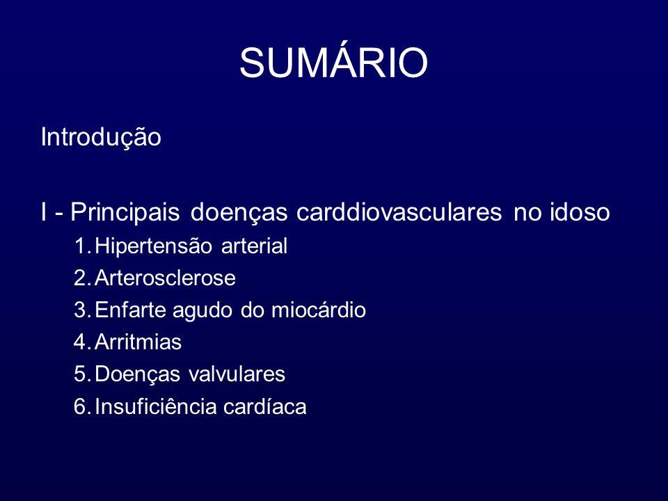 SUMÁRIO Introdução I - Principais doenças carddiovasculares no idoso