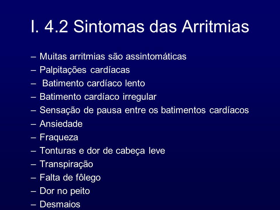 I. 4.2 Sintomas das Arritmias
