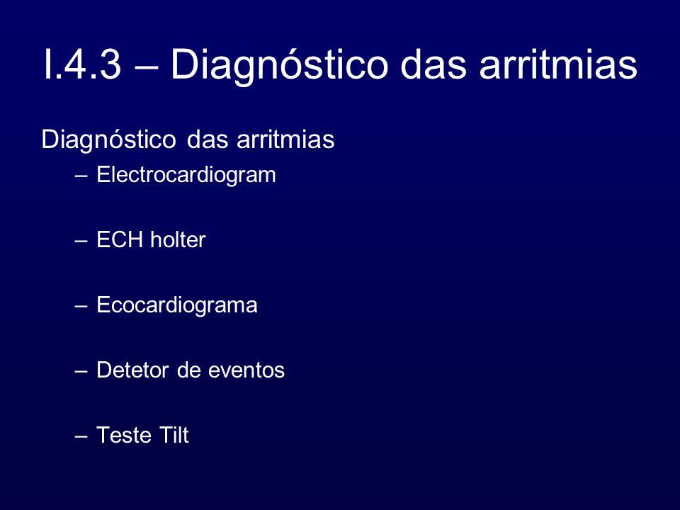 I.4.3 – Diagnóstico das arritmias