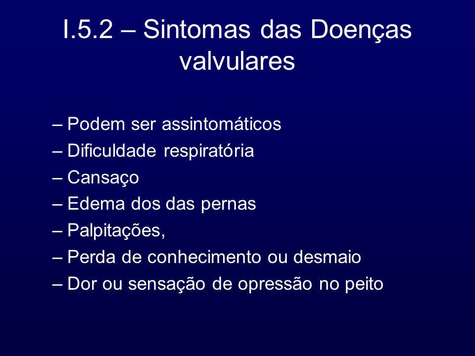 I.5.2 – Sintomas das Doenças valvulares