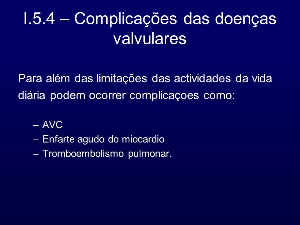 I.5.4 – Complicações das doenças valvulares