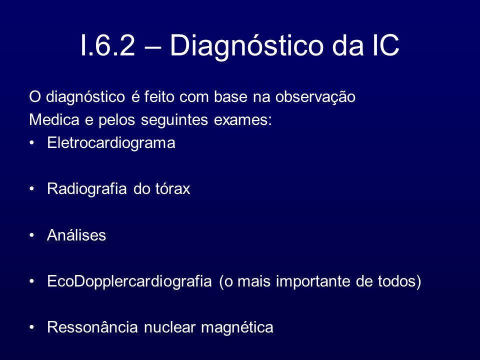 I.6.2 – Diagnóstico da IC O diagnóstico é feito com base na observação
