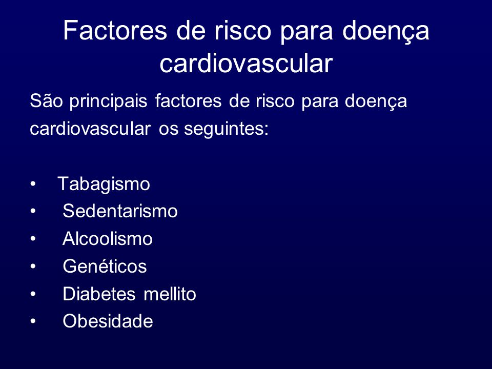 Factores de risco para doença cardiovascular