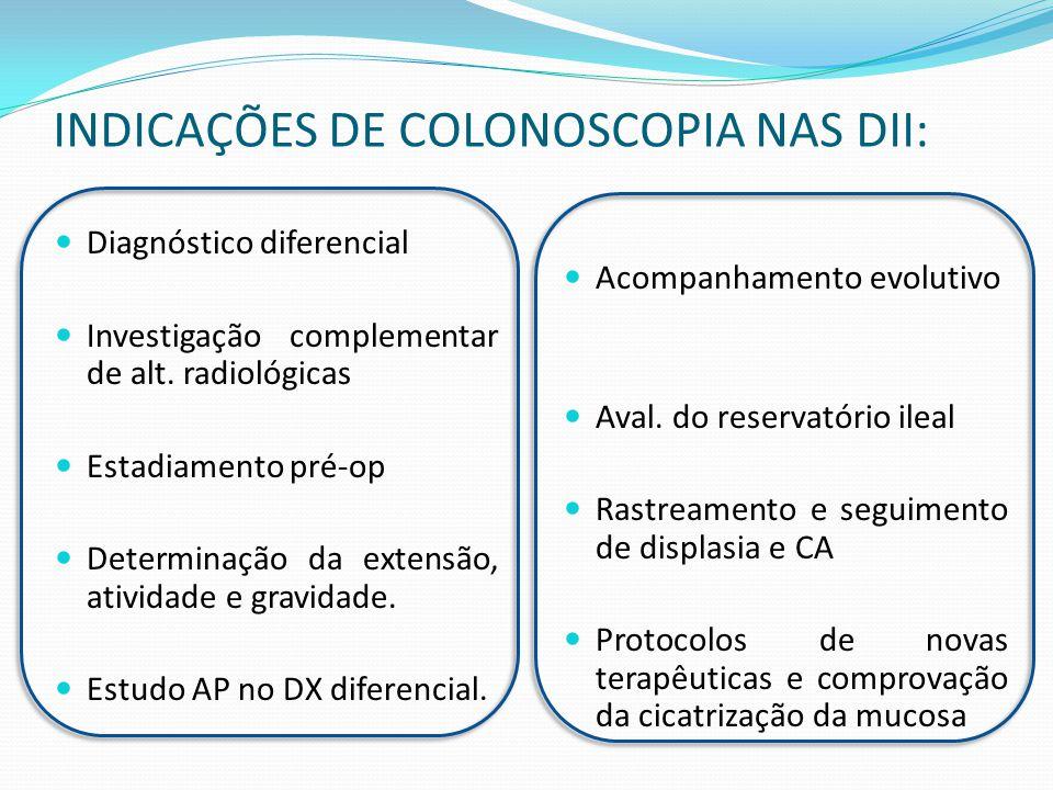 INDICAÇÕES DE COLONOSCOPIA NAS DII: