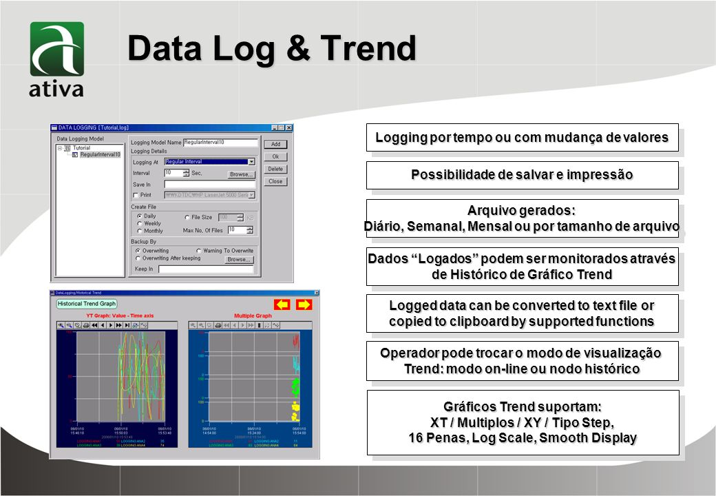 Data Log & Trend Logging por tempo ou com mudança de valores
