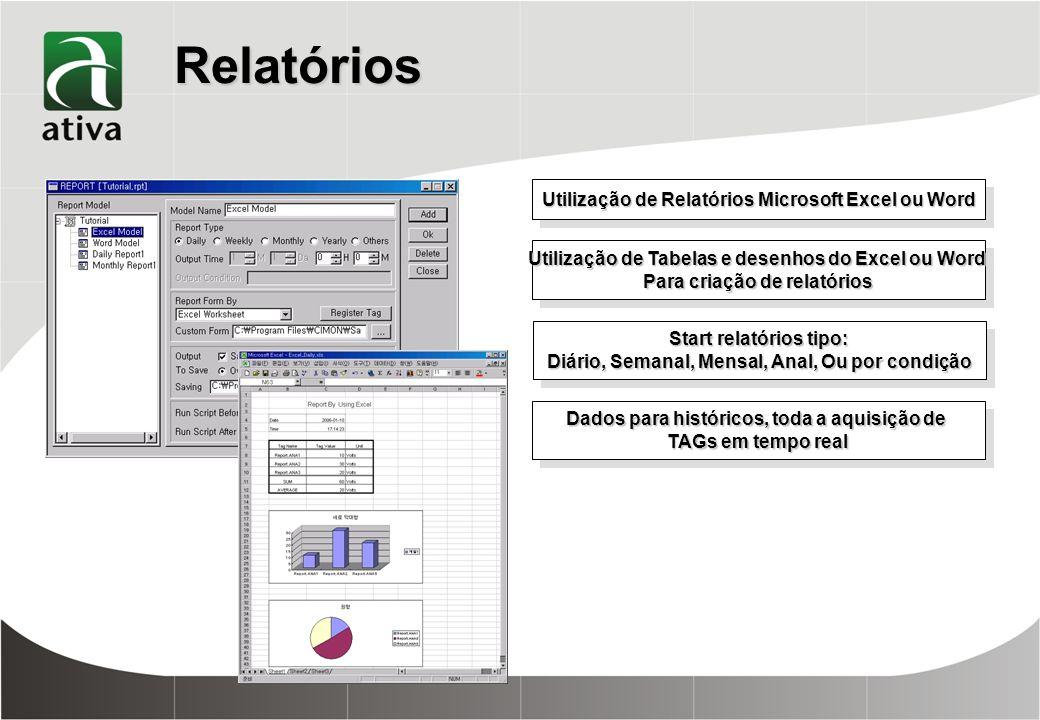 Relatórios Utilização de Relatórios Microsoft Excel ou Word