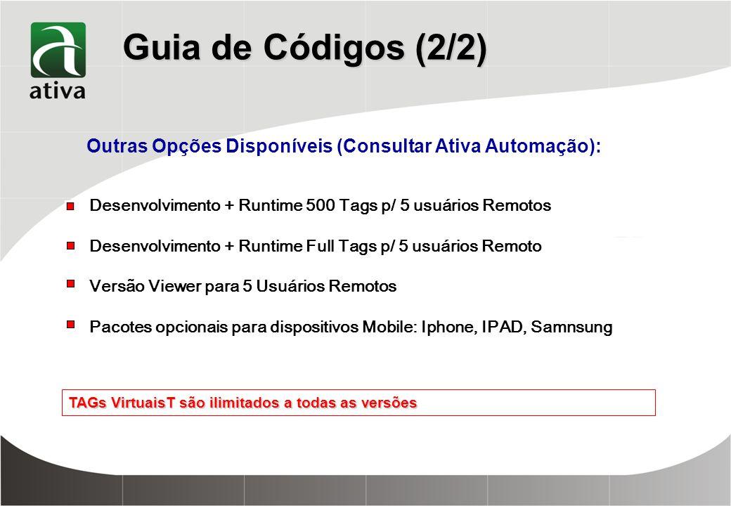 Guia de Códigos (2/2) Outras Opções Disponíveis (Consultar Ativa Automação): Desenvolvimento + Runtime 500 Tags p/ 5 usuários Remotos.