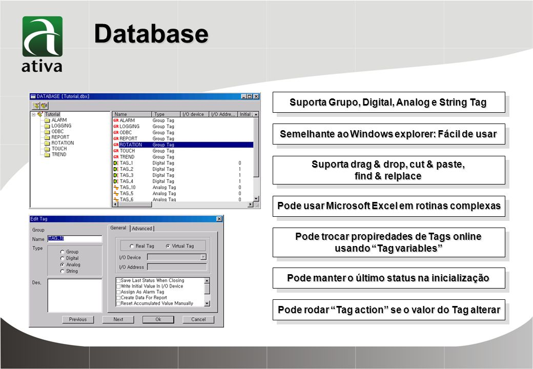 Database Suporta Grupo, Digital, Analog e String Tag