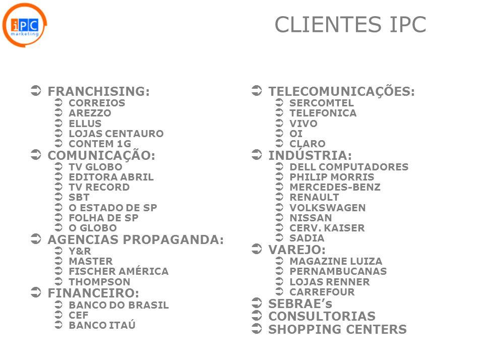CLIENTES IPC FRANCHISING: COMUNICAÇÃO: AGENCIAS PROPAGANDA: