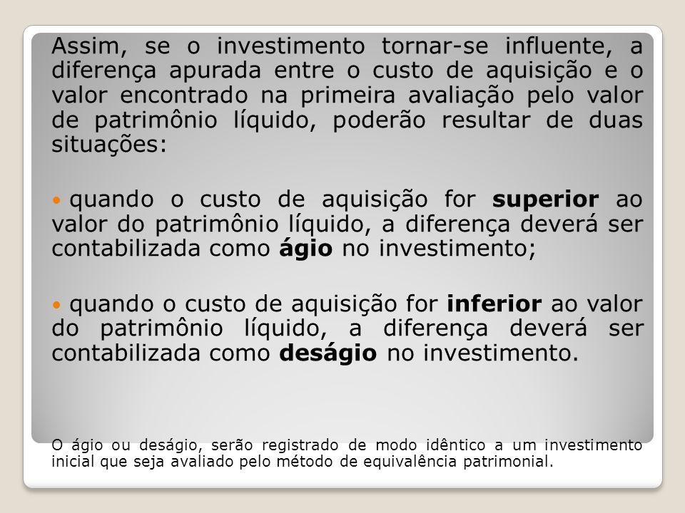 Assim, se o investimento tornar-se influente, a diferença apurada entre o custo de aquisição e o valor encontrado na primeira avaliação pelo valor de patrimônio líquido, poderão resultar de duas situações: