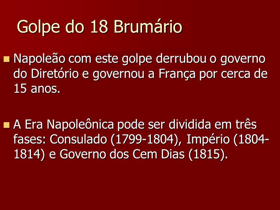 Golpe do 18 Brumário Napoleão com este golpe derrubou o governo do Diretório e governou a França por cerca de 15 anos.