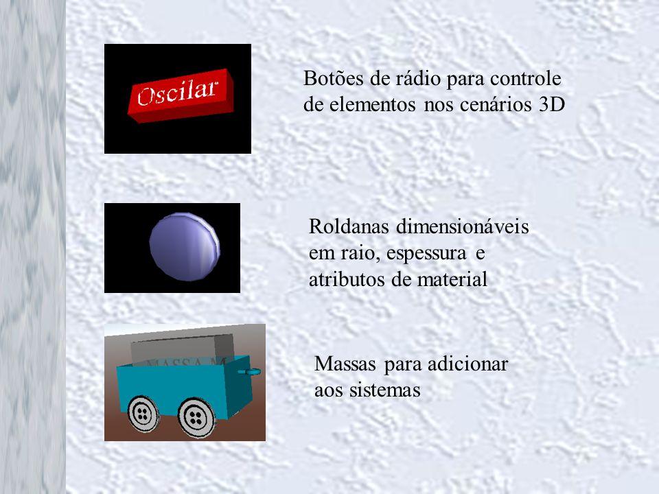 Botões de rádio para controle de elementos nos cenários 3D