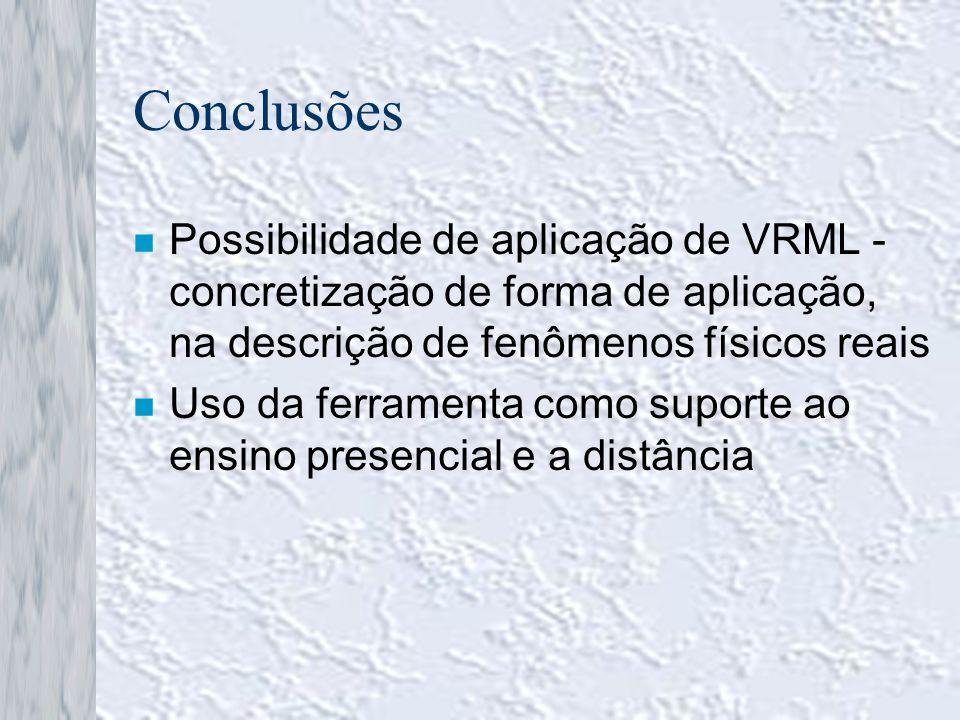 Conclusões Possibilidade de aplicação de VRML - concretização de forma de aplicação, na descrição de fenômenos físicos reais.