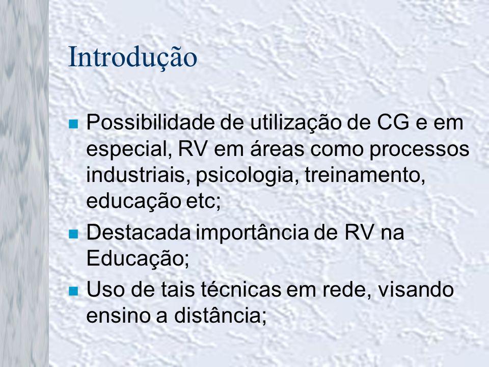 Introdução Possibilidade de utilização de CG e em especial, RV em áreas como processos industriais, psicologia, treinamento, educação etc;