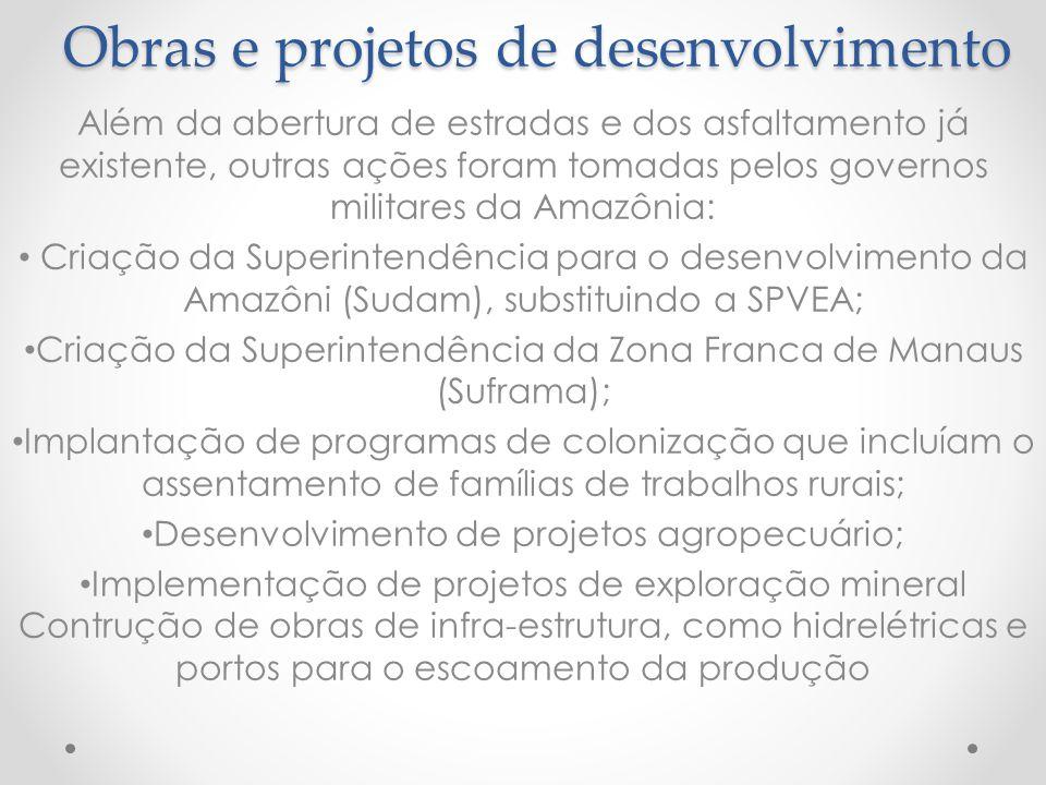 Obras e projetos de desenvolvimento
