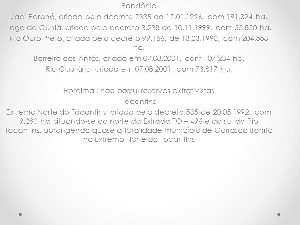 Jaci-Paraná, criada pelo decreto 7335 de 17.01.1996, com 191,324 ha.