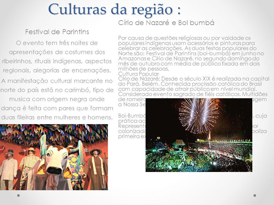 Culturas da região : Círio de Nazaré e Boi bumbá Festival de Parintins