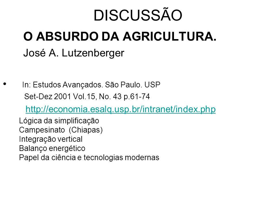 DISCUSSÃO In: Estudos Avançados. São Paulo. USP